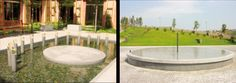 """""""Analemmatic Sundial"""" (left) by Maya Lin, 2003/ """"Equatorial Sundial""""(right) by Maia Lin, 2003 (Turkish granite and stainless steel, 14 ft. in diameter)_ U.S. Consulate in Istanbul (Turkey)"""