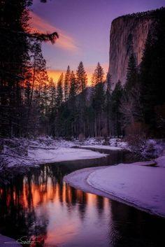 Sunset in El Capitan, Yosemite Valley, California    nature     sunrise      sunset   #nature  https://biopop.com/ #California