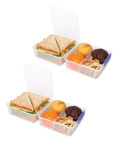 This lunch set features easy-open locking clips with rubberized seals that ensure meals and ingredients stay fresh. BPA- and lead-free, it keeps food safe while a unique stackable style makes storage simple. Includes two containers and lidsEach container: 5.5'' W x 4'' H x 5.5'' DVirgin polypropylene / TPE