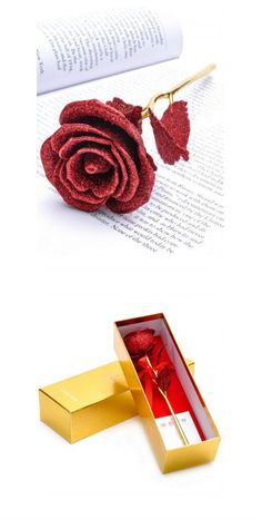 Valentine Gift&Wedding Decor Gold Plated Rose Flower with Gift Box