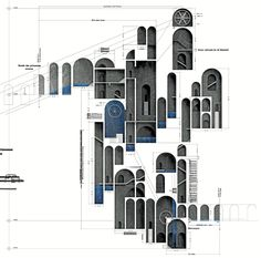 Both Nominee and Participants' favorite votes), 'Walk Around Music' by Hannah LaSota (University Park, USA) locates a Sensorium in underground Detroit 'to evoke motion and elicit emotion'. Image Courtesy of Archiprix International Islamic Architecture, Architecture Drawings, Concept Architecture, Facade Architecture, School Architecture, Architecture Colleges, Kerala Architecture, University Architecture, Arch Building