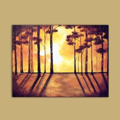 Trees and Sunset Painting Large Impasto custom art Sun in forest