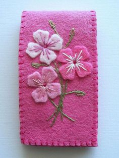 Needle Case Pink Felt with Embroidered Flowers Handsewn Needle Case Pink Felt with Embroidered by HandcraftedorVintage The post Needle Case Pink Felt with Embroidered Flowers Handsewn appeared first on Diy Flowers. Needle Case, Needle Book, Needle Felting, Felt Embroidery, Felt Applique, Fabric Crafts, Sewing Crafts, Sewing Projects, Felt Projects