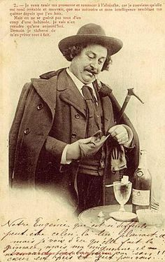 Cloaked Absinthe Drinker Poster - Absinthe Poster of an old postcard depicting a cloaked Absinthe Drinker: