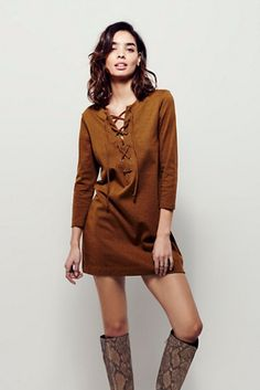 Lace up everything // Free People All Laced Up Shift Dress at Free People Clothing Boutique