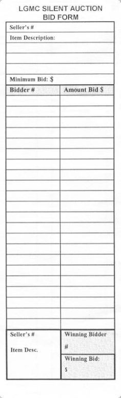 silent auction bid sheet template | Printable Silent Auction Bid Forms