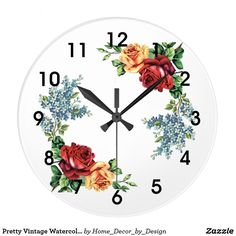 Pretty Vintage Watercolor Roses Large Clock