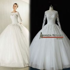 Arrivals Actual Photos Long Sleeve Ball Gown Wedding Dress