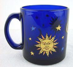 Libbey Cobalt Blue Glass Celestial Coffee Mug Sun Moon Stars  #Libbey