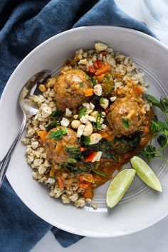 Who needs take-out when you can make these delicious vegan lentil meatballs with curry sauce served over brown rice and topped with chopped cashews?