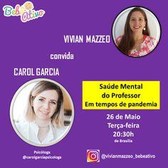 Hoje eu vou receber uma convidada muito especial...  Para falarmos sobre Saúde Mental do Professor... Em tempos de pandemia.  Com Carol Garcia, psicóloga.  Hoje 26/05 ás 20:30h de Brasília Somente no Instagram  Você não pode perder. O que você gostaria de perguntar para a Carol? Escreva nos comentários...  Até mais tarde...  Beijo Vivian Mazzeo  #bebeativo #vivianmazzeo #bercario #creche #educacaoinfantil #professoradobercario #professoradoberçário #bercarista #berçarista #bebenaescola… Professor, Live, Instagram, Mental Health, Kiss, Childhood Education, Teacher