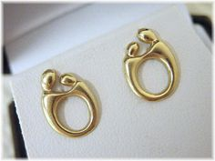 @@ FREE SHIPPING WITHIN USA @@     Oh, How Precious. The Sweet Silhouette of a Mother & Child Captured in 14K Gold. These Sweet Earrings each