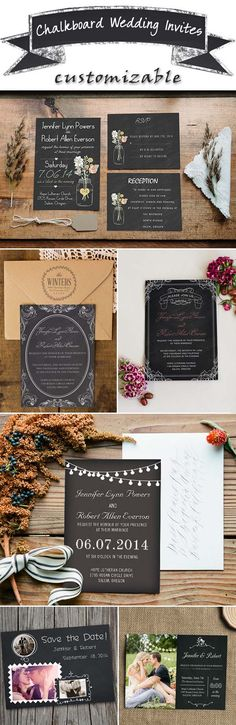 stylish chalkboard wedding invitations