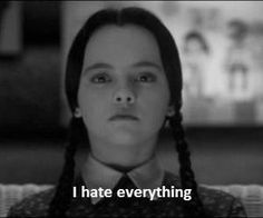 I hate everything. Wednesday Addams.... People tell me I look like her and I just don't get it !!!!