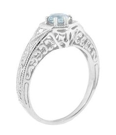 Art Deco Aquamarine Filigree Engraved Engagement Ring in 14 Karat White Gold with Side Diamonds - Item: Filigree Engagement Ring, Engagement Rings, Aquamarine Jewelry, Birthstone Jewelry, Art Deco Ring, Brilliant Diamond, Engraved Rings, Beautiful Rings, Custom Jewelry