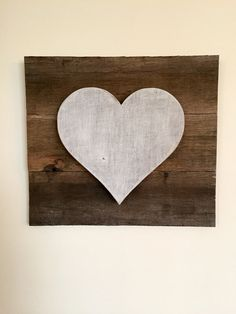 Heart Sign is hand painted in a white and tan distressed technique, this heart is handcrafted and cut from reclaimed wood and attached to a reclaimed