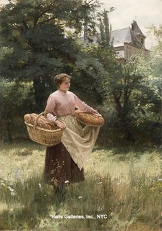 "Louis Emile Adan (1839 -1937) ""Returning from the Market"" Oil on canvas 36 x 25 1/2 inches Signed"