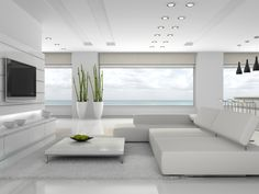 The Chic Technique Fabulous All White Modern Living Room With Spectacular View And Large Screen Tv