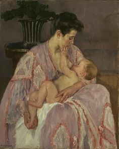 Young Mother Nursing Her Child, Mary Cassatt, 1906.  Oil on canvas  99.1 x 80.3 cm (39 x 31 5/8 in.)  Collection of The Art Institute of Chicago.