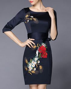 Floral Embroidered Sheath Midi Dress With Belt