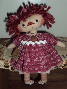 Primitive Raggedy Ann Candy Cane Angel & Hollyberry Lil Annie #Handmadebyme