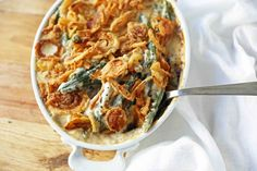 Homemade made from scratch Green Bean Casserole will be a hit at your Thanksgiving dinner. The classic Green Bean Casserole got a makeover and is a way better version! The Best Green Beans, Green Beans With Almonds, Carrots And Green Beans, Homemade Green Bean Casserole, Classic Green Bean Casserole, Thanksgiving Side Dishes, Thanksgiving Recipes, Creamy Green Beans, Honey