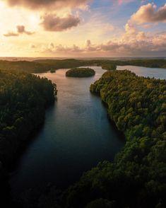 Sunset over lake in Sweden [OC] Hiking Photography, Landscape Photography, Nature Photography, Beautiful Places, Beautiful Scenery, Beautiful Landscapes, Phantom 4, Morning Sunrise, Lake George