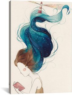 """-Illustration by Gemma Capdevila - """"We lose ourselves in books, we find ourselves there too"""". / Hand-drawn, ink and watercolour Watercolor Illustration, Watercolor Paintings, Japan Illustration, Oil Paintings, Painting Inspiration, Art Inspo, Arte Fashion, Cute Drawings, Painting & Drawing"""