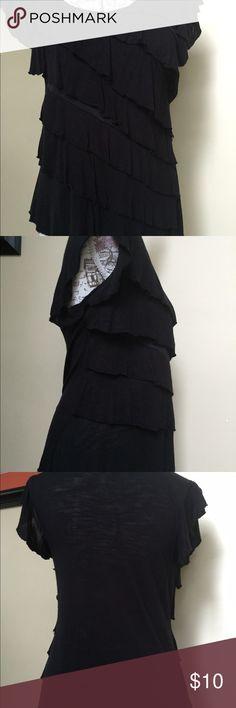I.N. San Francisco black ruffle top - size L Classy & sexy black ruffle blouse (soft t-shirt material)  Pretty! I.N. San Francisco Tops Blouses