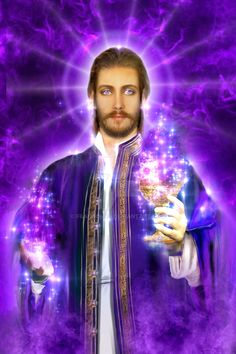 Saint Germain is the chohan of the seventh ray, and master alchemist of the sacred fire who comes bearing the gift of the violet flame of freedom for world tra… Saint Germain, White Dragon Society, Celestial, Ashtar Command, Ascended Masters, Visionary Art, Love And Light, Mystic, Saints