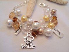 Military Charm Bracelet Soldier Bracelet by TreasureIsleGiftShop