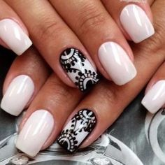Opting for bright colours or intricate nail art isn't a must anymore. This year, nude nail designs are becoming a trend. Here are some nude nail designs. Fabulous Nails, Gorgeous Nails, Pretty Nails, Lace Nail Design, Nail Art Designs, Nails Design, Get Nails, Hair And Nails, Black And White Nail Designs
