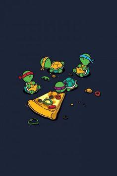 Teenage Mutant Ninja Turtles TMNT Eating Pizza iPhone 5 Wallpaper