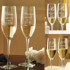 Personalized Bride and Groom Champagne Flutes. Love it!