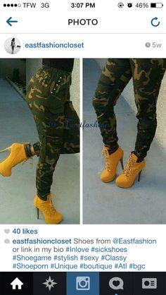 bringing my timberland heels to punch up my camo leggins for a quick out for drinks look