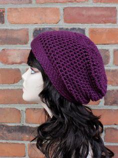 5a51ec103bb Items similar to HAT - SLOUCHY Hat - Crochet Hat in Grape Purple - Beanie  Hat - Hats for Women - Winter Fashion - Handmade Knit Hats on Etsy
