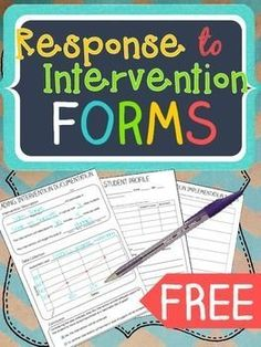 FREE-Response to Intervention Forms FREEBIE....Special Education, Early Intervention Kindergarten, 1st, 2nd, 3rd, 4th, 5th Professional Documents, Classroom Forms..roviding interventions for students is challenging enough. These forms make documentation easier. Blanks allow you to fill in assessments that are relevant to your school and grade level. 8 pages...