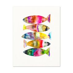 Title: Fish No. 7 This is an archival print of my original watercolor fish painting. Print Size Options: See the Size bar below listing price to Watercolor Fish, Watercolor Animals, Watercolor Paintings, Fish Paintings, Ink Painting, Watercolours, Kids Room Art, Art For Kids, Bathroom Art