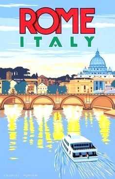Beautiful City Poster Art Examples 'Rome - Italy' by Charles Avalon - Vintage travel posters - Art Deco - Pullman 'Rome - Italy' by Charles Avalon - Vintage travel posters - Art Deco - Pullman Editions City Poster, Poster Art, Art Deco Posters, Poster Series, Vintage Italian Posters, Vintage Travel Posters, Vintage Ads, Decor Vintage, Design Vintage