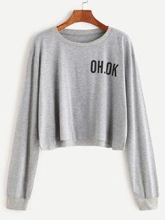 13$  Watch here - http://dibtv.justgood.pw/go.php?t=17155 - Grey Drop Shoulder Letter Print Raw Hem Crop Sweatshirt