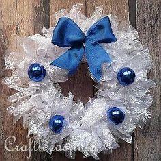 Ruffled Organza Snow Wreath