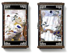 Day and Night Vanity Case, Cartier Paris, 1927 Yellow gold, platinum, two mother-of-pearl plaques with a daytime and a night-time landscape, a ruby half-cabochon (rising sun) and a sapphire cabochon (moon), gems, hardstone, nephrite, carnelian, baguette- and rose-cut diamonds, black enamel.