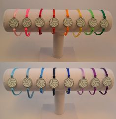 Volleyball bracelet with silver plated white by NoLimitsSpiritWear