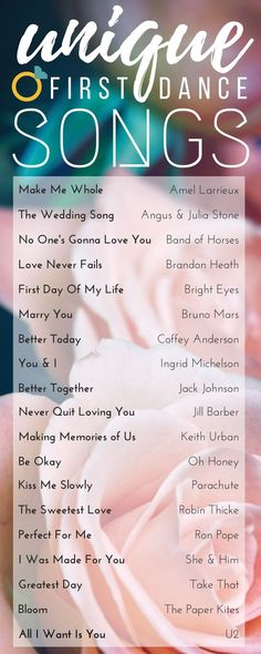 Our favorite unique songs that are perfect for the first dance! Check out this list of First Dance songs and find one that's perfect for you! www.pinterest.com/laurenweds/wedding-music?utm_content=buffercc0fd&utm_medium=social&utm_source=pinterest.com&utm_campaign=buffer