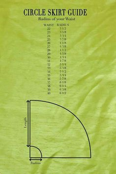 Figure out how much fabric you need. You will need enough fabric to fold twice: once hot dog style (salvage to salvage), and then hamburger style, with a little left over for your waistband. The pa…Circle skirt tutorial - Woven fabric with waistban Sewing Hacks, Sewing Tutorials, Sewing Crafts, Sewing Projects, Sewing Tips, Sewing Ideas, Pattern Drafting Tutorials, Dress Tutorials, Diy Circle Skirt