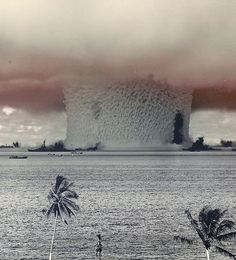 Blast of an Atomic Bomb Underwater Test, July 1946. This photo was taken from a tower on Bikini Island, 3.5 miles (5.6 km) away.