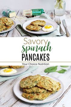 #ad Savory Spinach Pancakes are a great way to start the day or enjoy breakfast for dinner with your family! | recipe via www.yourchoicenutrition.com Veggie Recipes Healthy, Healthy Breakfast Recipes, Clean Eating Recipes, Brunch Recipes, Vegetarian Recipes, Healthy Breakfasts, Savory Breakfast, Breakfast For Dinner, Breakfast Ideas