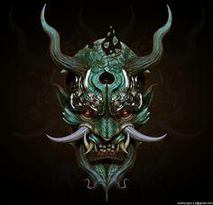 samurai oni mask fresh svein yngve sandvik antonsen cg art of samurai oni mask Samurai Maske Tattoo, Hannya Maske Tattoo, Oni Samurai, Japanese Demon Mask, Japanese Mask Tattoo, Japanese Art Samurai, Japanese Dragon, Oni Tattoo, Demon Tattoo