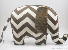 Elephant Nursery Chevron Elephant Pillow Modern by bakerbaby, $32.00