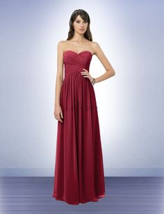 Bill Levkoff Bridesmaid...Chiffon with sweetheart neckline, love the crossing patterns on the bodice - Cranberry